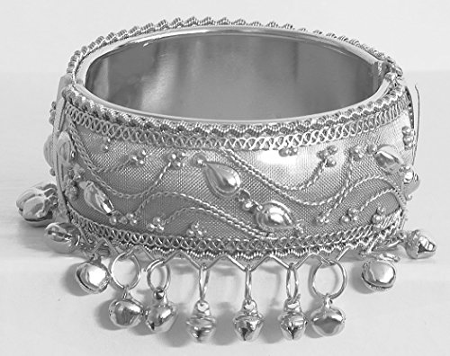 DollsofIndia Metal Hinge Bracelet With Metal Beads - Metal - White - B00VMBH07M