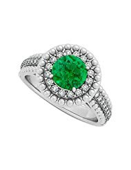 Emerald And CZ Halo Engagement Ring In Sterling Silver With Lovely Design And Great Price Range