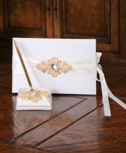 Ivy Lane Design Elizabeth Guest Book Penholder And Pen Set, Ivory back-716825