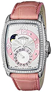Armand Nicolet TM7 9633V-AS-P968RS0 32.4mm Diamonds Automatic Stainless Steel Case Pink Leather Anti-Reflective Sapphire Women's Watch