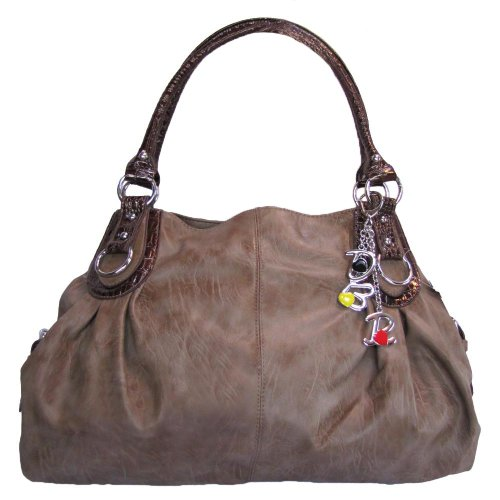 Large Charm Hobo Handbag (Dove Brown)