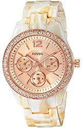 Fossil Women's ES3578 Stella Multifunction Pearlized Resin Watch - Shimmer Horn