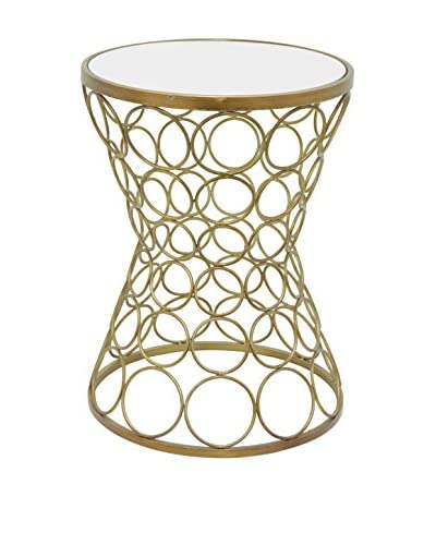 Three Hands Contemporary Circles Mirror Top Accent Table  [Champagne]