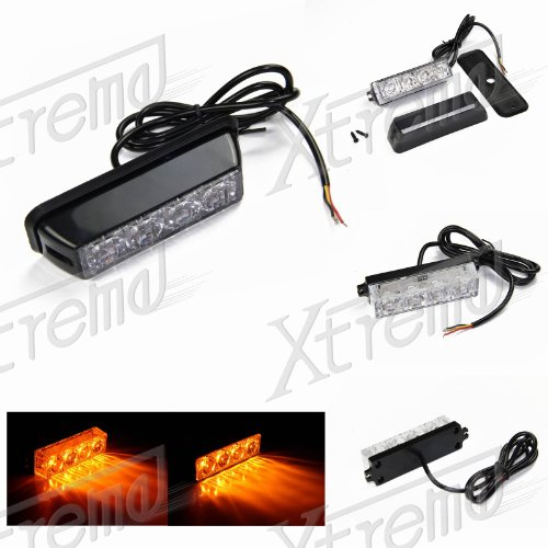 Xtreme® Amber Yellow 4 Led 4 Watt Emergency Vehicle Waterproof Surface Mount Deck Dash Grille Strobe Light Warning Police Light Head With Clear Lens
