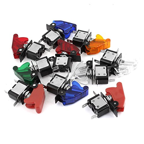 10Pcs On-Off Racing Car Spst Led Toggle Switch 12V 20A W Safety Cover