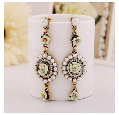 Yuriao Jewelry Elegant Vintage Court Flower Earrings£¨green£© (Shane Co Rings compare prices)