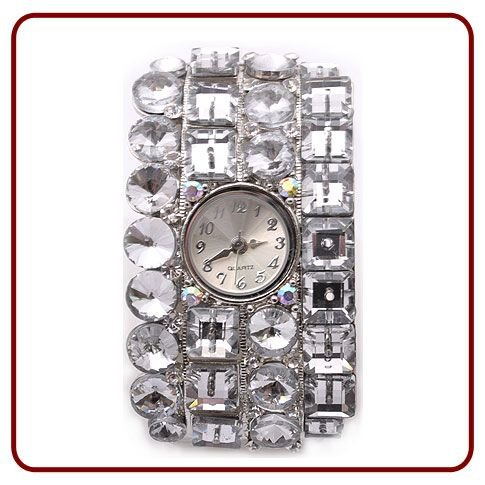 Ladies &#8211; Silver &#8211; Clear &#8211; Fashion Watches