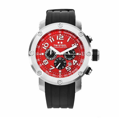 TW Steel Unisex Quartz Watch with Red Dial Chronograph Display and Black Rubber Strap TW124