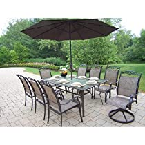 Hot Sale Oakland Living Cascade 9-Piece Dining Set with 72 by 42-Inch Table, 6 Stackable Chairs, 2 Swivel Rockers, 9-Feet Brown Tilting Umbrella and Stand