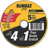 Rueda de corte de metal y acero DEWALT DW8061B5 4-Plg por 0.045-Plg , 5/8-Plg de mandril, Paquete de 5 unidades