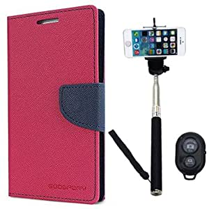 Aart Fancy Diary Card Wallet Flip Case Back Cover For Samsung A7 - (Pink) + Remote Aux Wired Fashionable Selfie Stick Compatible for all Mobiles Phones By Aart Store