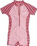Playshoes Baby - Mädchen Babybekleidung/ Badebekleidung UV-Schutz nach Standard 801 und Oeko-Tex Standard 100 Einteiler Schmetterling mit Streifen 460041, Gr. 98/104, Rosa (788 rot/rosa)