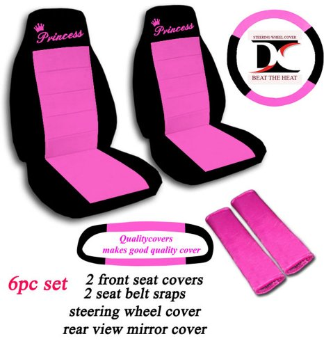 6 Piece set. Black and Hot Pink Princess seat covers, steering wheel cover, seat belt cover and rear view mirror cover. Universal seat covers. (Princess Car Steering Wheel Cover compare prices)