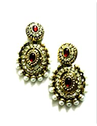 Ethnic Fashion Earrings With Pearl And Coloured Crystals In Gold Finish, Red