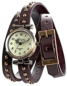 AMPM24 Vintage Coffee Leather Girl Lady Women Slim Wrap Long Bracelet Quartz Watch Gift
