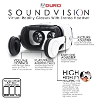 Aduro SoundVision Virtual Reality Glasses for 4.7 to 6 in Universal Smartphones w/ Stereo Headset for 3D Pictures w/ 360° Panoramic Views & 3.5 mm Audio Jack from Aduro