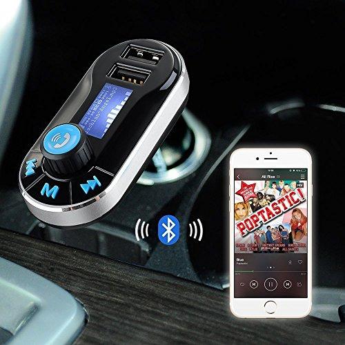 Fone-Case (Black) Asus Transformer Book Trio 5 in 1 auto ogni connessione Aircast Auto Trasmettitore FM senza fili universale Car Kit modulatore del trasmettitore del giocatore di musica radio, supporto SD / TF, caricatore per auto dual USB,Chiamate in vivavoce e controllo della musica.