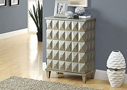 BRUSHED SILVER CONTEMPORARY BOMBAY CHEST (SIZE: 24L X 12W X 32H)