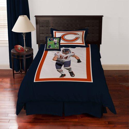 Nfl Biggshots Bedding - Chicago Bears Brian Urlacher Comforter Set And Toss Pillow, Twin front-885408