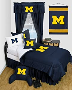 University of Michigan Wolverines Dorm Bedding Comforter Set by Sports Coverage