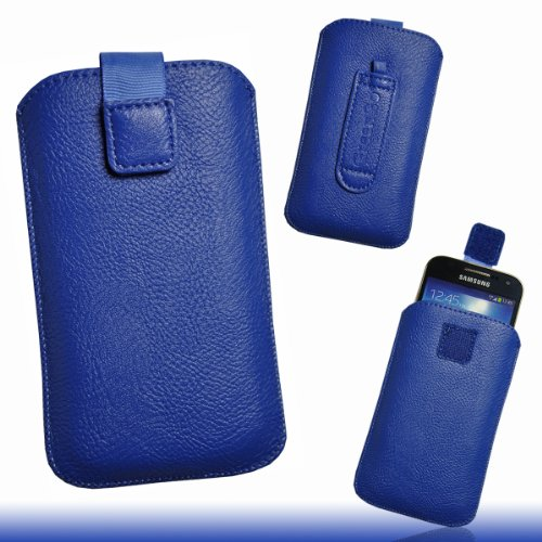 Handy Tasche Etui Hülle Case Kunstleder blau W2 Gr.3 für Samsung C3312 Rex60 / S5222R Rex80 / Galaxy Young S6310 / Galaxy Young Duos S6312 / Galaxy Pocket Plus S5301 / Samsung Galaxy Pocket Neo S5310 / Alcatel OT 903D / Alcatel OT Star 6010D