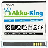 Akku-King Li-Ion Battery for HTC Nexus One / Desire / Bravo / G7 - replaces BA S410 - 1400mAh