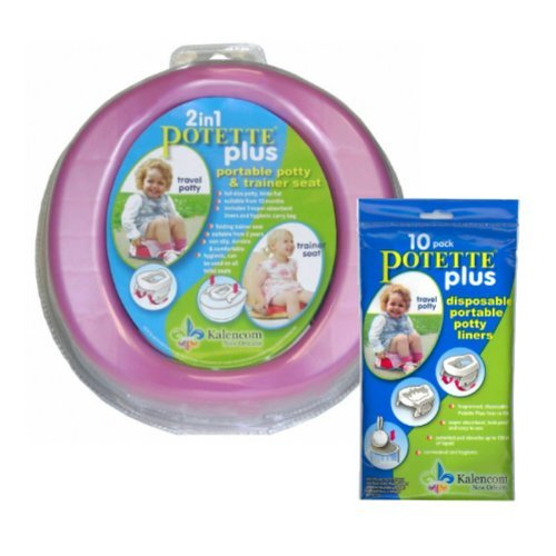 Kalencom Bundle - 2 items: 2-in-1 Potette Plus Potty (PINK) and 10 pc Liners - 1