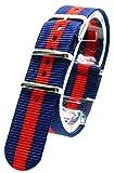 [2PiS] ( ダブルネイビー・センターレッド : 20mm ) NATO 腕時計ベルト ナイロン 替えバンド ストラップ 交換マニュアル付 21-1-20