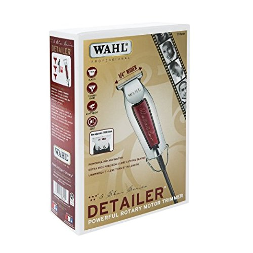 Wahl Professional Series Detailer with Adjustable T-Blade, 3 Trimming Guides (1/16 inch - 1/4 inch), Red Blade Guard, Oil, Cleaning Brush and Operating Instructions, 5-Inch (Wahl T Blade Detailer compare prices)