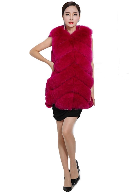 YR Lover Damen Warm Echter Lange ganze Haut Fuchs Pelz Weste Mantel kaufen