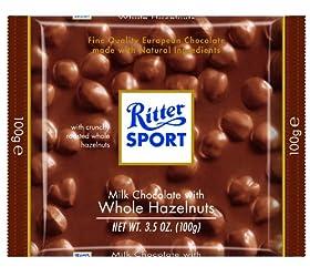 Ritter Sport Whole Hazelnuts & Milk Chocolate 100 g