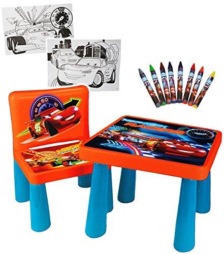 Set--Tisch-Stuhl-incl-Malvorlagen-Stifte-Disney-Cars-Lightning-McQueen-Maltisch-Zeichentisch-Schreibtisch-fr-Kinder-aus-Kunststoff-Plastik-Kindermbel-fr-Jungen-Kindertisch-Kinderstuhl-Kinderzimmer-fr-