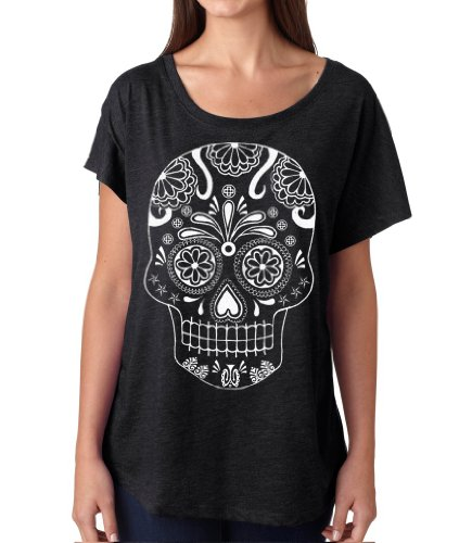 Skip N' Whistle Women's Sugar Skull Day Of The Dead Dolman Sleeve T-Shirt XXL Black (Dead Whistle compare prices)
