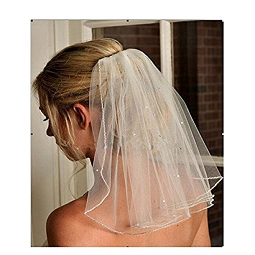 Fair Lady White Simple One Layer Pencil Edge With Sequined Short Wedding Veil