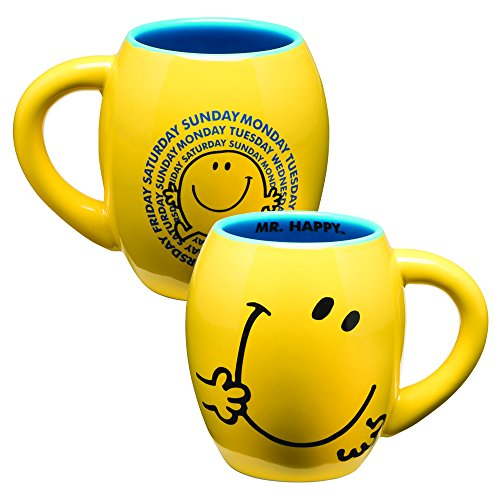 Vandor 44261 Mr. Men Little Miss-Mr. Happy 18 Oz Oval Ceramic Mug, Yellow And Blue