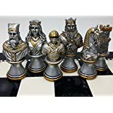 Medieval Times Crusades Knight Chess Men Set Gold & Silver Busts - NO Board