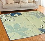 さわやかでモダンなリーフ柄のい草ラグ「パキラ」191x191cmブルー色 【床にやさしい裏貼】