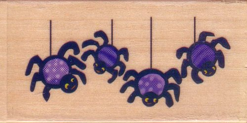 Four Cute Spiders Halloween Rubber Stamp by Sugarloaf Products, Inc.