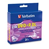 Verbatim 8.5 GB 2.4X Double Layer Recordable Disc DVD+R DL, 3-Disc Jewel Cases 95014
