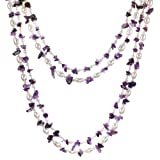 """HinsonGayle """"Amelia"""" Handcrafted 2-Strand Amethyst & Cultured Freshwater Pearl Rope Necklace and Dangle Earrings Set (Sterling Silver) (Artisan Collection)"""