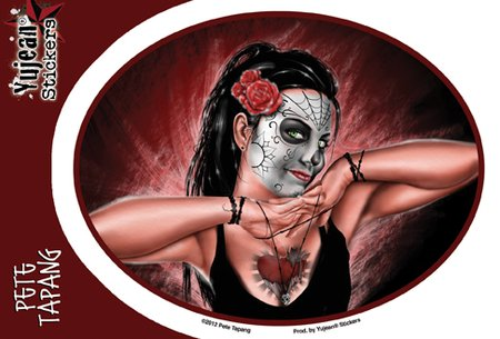 "Pete Tapang Hands of Death Sugar Skull Pinup PIN-UP decalcomania Sticker Decal - 6"" x 4.5"" Die-Cut - Weather Resistant, Long Lasting for Any Surface"