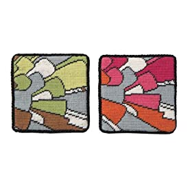 Trina Turk for Peking Handicraft Mosaic 4 by 4-Inch Needlepoint Coasters, 2 Designs, Set of 4