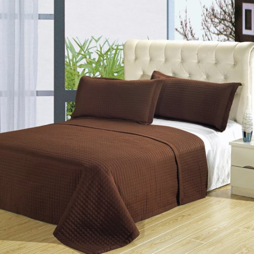 Discover Bargain King size Chocolate Coverlet 3pc set, Luxury Microfiber Checkered Quilted