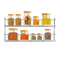 2 Tier Chrome Door Mounted Spice Rack Jar Holder Kitchen Cupboard Wall Storage Shopmonk