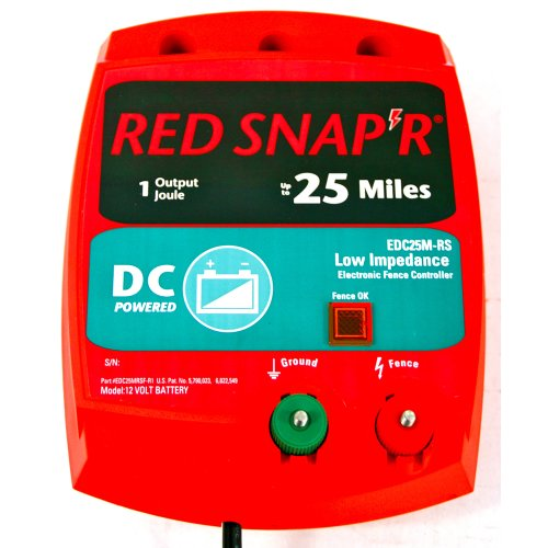 Red Snap'R Edc25M-Rs 25-Mile Battery Operated Solid State Fence Charger