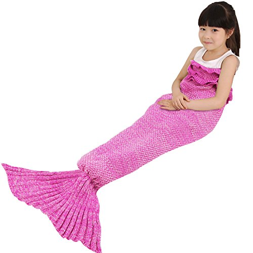 Lowest Prices! BATTOP Mermaid Tail Knitted Blanket for kids-(Child, Rose)