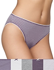 5 Pack Cotton Rich Marl Spotted High Leg Knickers