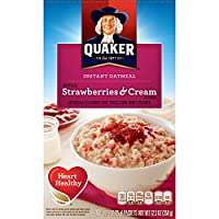 Quaker Instant Oatmeal, Strawberry & Cream, Breakfast Cereal, 10 Packets Per Box (Pack of 4)