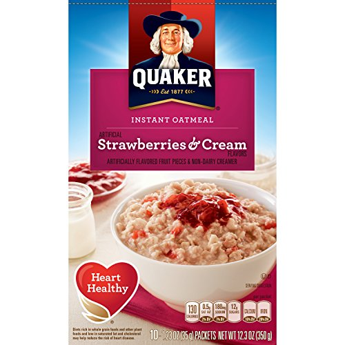 Quaker Instant Oatmeal, Strawberry & Cream, Breakfast Cereal, 10 Packets Per Box (Pack of 4) (Oatmeal Cream compare prices)