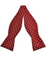 PenSee Mens Self Bow Tie Red & White Dot Woven Silk Bow Ties
